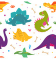 cute dinosaurs hand drawn seamless pattern vector image vector image