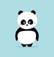 cute panda standing on blue background kawaii vector image