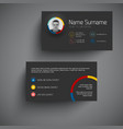 Dark modern business card template with flat user vector image vector image
