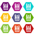 dictaphone icon set color hexahedron vector image vector image