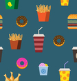 Fast food seamless pattern flat vector image vector image