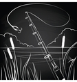 Fishing bait near the pond vector image