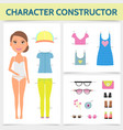 flat woman character constructor concept vector image