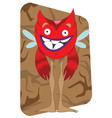 funny looking red alien monster with wings vector image vector image