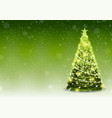 green christmas tree background with falling snow vector image