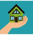 hand holds house ecology design vector image