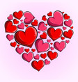 heart made up little pink and red hearts vector image vector image