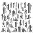 highly detailed happy family silhouettes vector image vector image