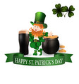 image leprechaun glass of dark beer clover vector image vector image