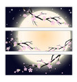 Invitation cards with stylized cherry blossom vector image