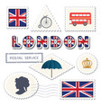 london postage set decorative british stamps vector image vector image