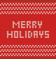 merry christmas knitting card vector image vector image