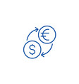 money exchangedollar euro line icon concept vector image vector image