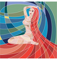 mosaic woman with red hair on colorful background vector image vector image