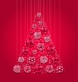 New Year Abstract Tree Made in Pink Hanging Balls vector image vector image