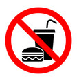 no food stop eat or drink prohibition sign vector image