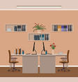 office room interior with two workspaces and vector image vector image