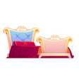 royal bed with red blanket and pillows vector image