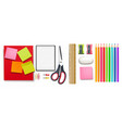 school supplies set realistic crayons vector image vector image
