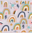 seamless childish pattern with hand drawn shining vector image