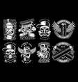 set black and white graffiti vector image vector image