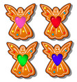 set delicious gingerbread in shape an vector image