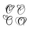 set vintage floral letter monogram o vector image