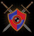 shield and sword logo vector image vector image