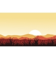 Silhouette of grass on mountain backgrounds vector image vector image