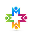 social media people holding hands logo vector image vector image