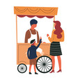 street food cart mother and son buying snack from vector image