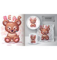 teddy bear poster and merchandising vector image vector image