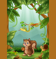 the animals happy an activity in jungle vector image vector image