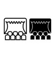 theater line and glyph icon curtain on stage vector image
