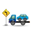 truck crane and car with road sign vector image vector image
