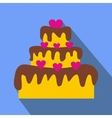 Valentine Day cake flat icon vector image vector image