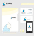 water drop business logo file cover visiting card vector image