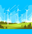 windmills on green fields vector image vector image