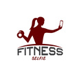 woman of fitness silhouette character make selfie vector image vector image
