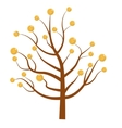 Tree with money Coins Flat design isolated vector image