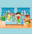 boys playing in the bedroom vector image