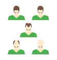 cartoon stages of hair loss in men vector image