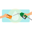 a man paying gasoline fuel using credit card vector image vector image