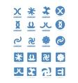 Abstract blue shape logo icon set vector image vector image