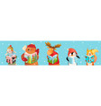animals for kids reading books in winter studying vector image