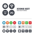 Basketball icons Ball with basket and cup symbols vector image vector image