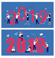 business people building a numbers 2019 vector image