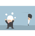 Businessman hiding from angry boss behind the wall vector image vector image