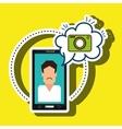 cartoon man smartphone camera vector image