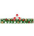 christmas fir border decorated with santa claus vector image